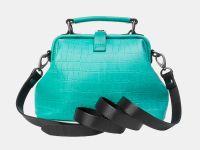 """Женская сумка-саквояж из натуральной кожи Alexander-TS """"W0013 Green Black Croco"""""""