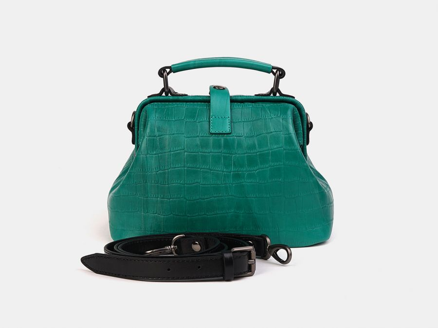 """Женская сумка-саквояж из натуральной кожи Alexander-TS """"W0013 Green Croco Black"""""""