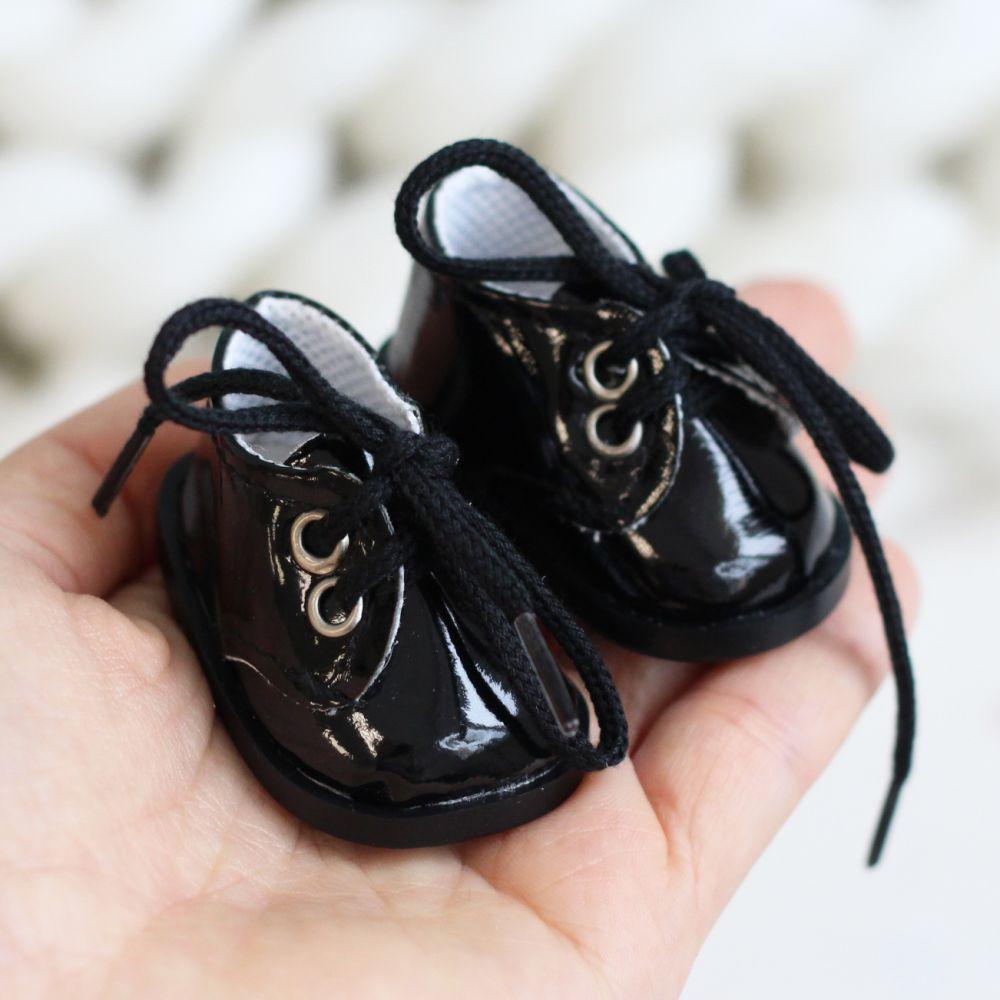 Обувь для кукол 5 см - Ботиночки лаковые чёрные