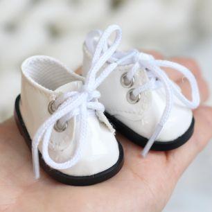 Обувь для кукол 5 см - Ботиночки лаковые белые