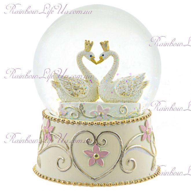 """Снежный шар стеклянный """"Лебеди"""""""