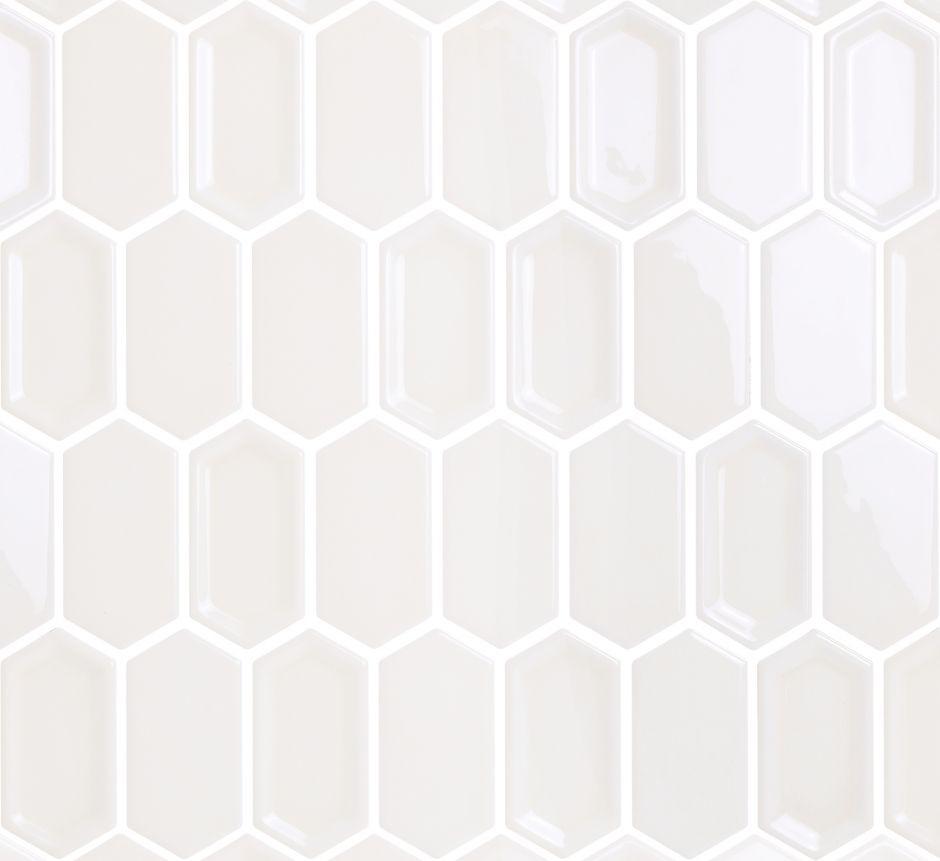 Мозаика LeeDo: Crayon White glos 38x76x8 мм, керамическая глазурованная глянцевая