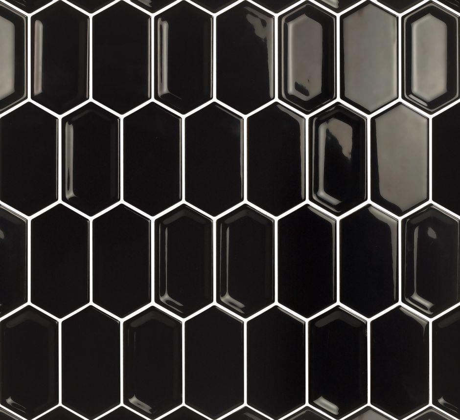 Мозаика LeeDo: Crayon Black glos 38x76x8 мм,керамическая глазурованная глянцевая