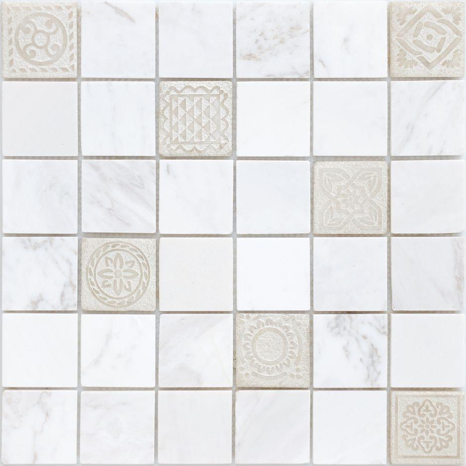 Мозаика LeeDo: Art Dolomiti bianco матовая 48х48х8 мм
