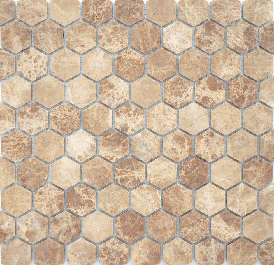 Мозаика LeeDo: Pietrine Hexagonal - Emperador Light матовая 18х30х6 мм