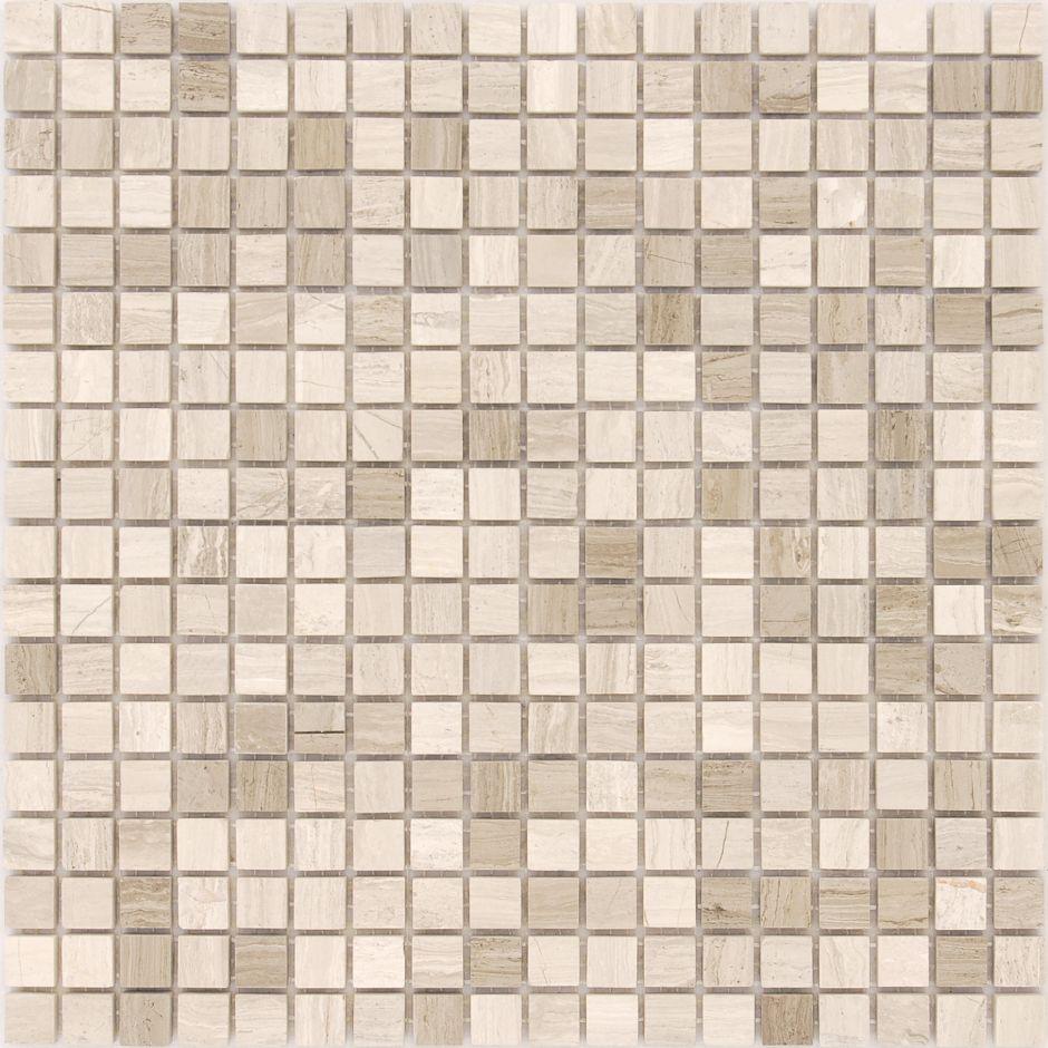 Мозаика LeeDo - Caramelle: Pietrine - Travertino Silver полированная 15x15x4 мм