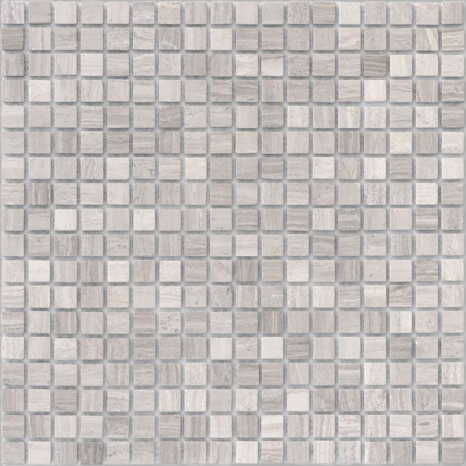 Мозаика LeeDo - Caramelle: Pietrine - Travertino Silver матовая 15x15x4 мм