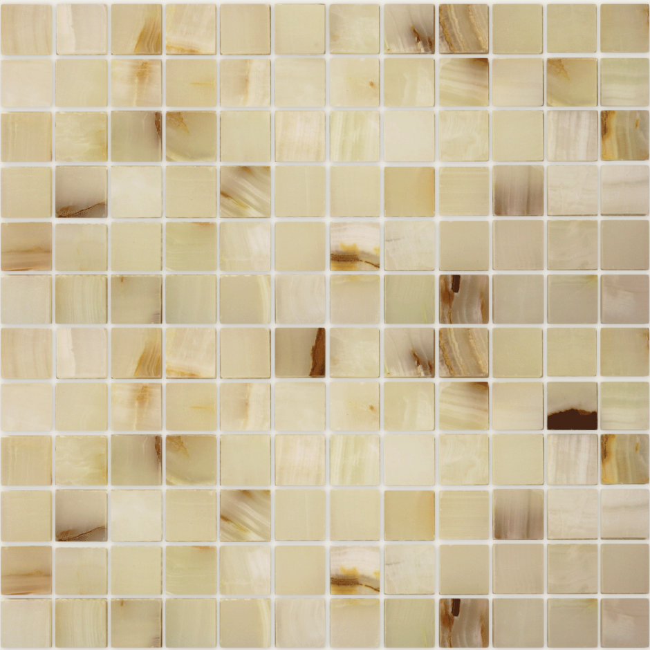 Мозаика LeeDo - Caramelle: Pietrine - Onice Jade Bianco полированная 23х23х7 мм