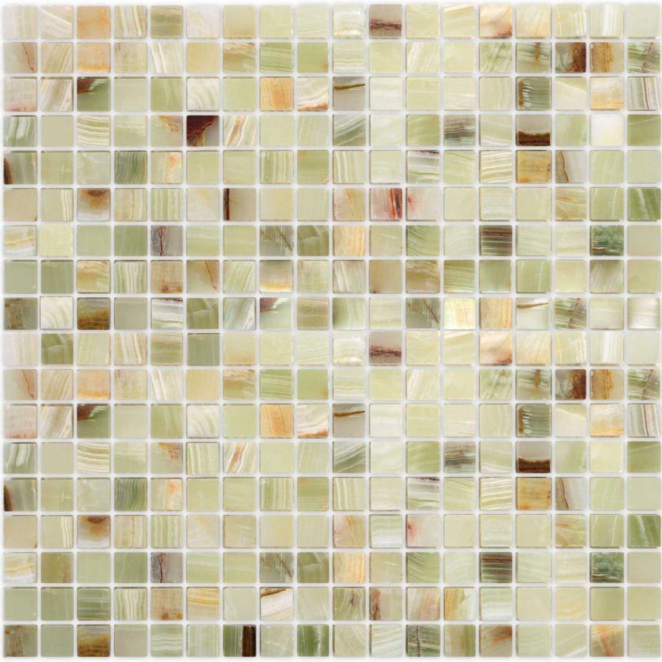 Мозаика LeeDo - Caramelle: Pietrine - Onice Jade Verde полированная 15x15x7 мм