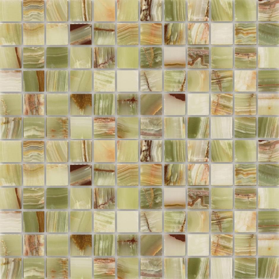 Мозаика LeeDo - Caramelle: Pietrine - Onice Jade Verde полированная 23х23х7 мм
