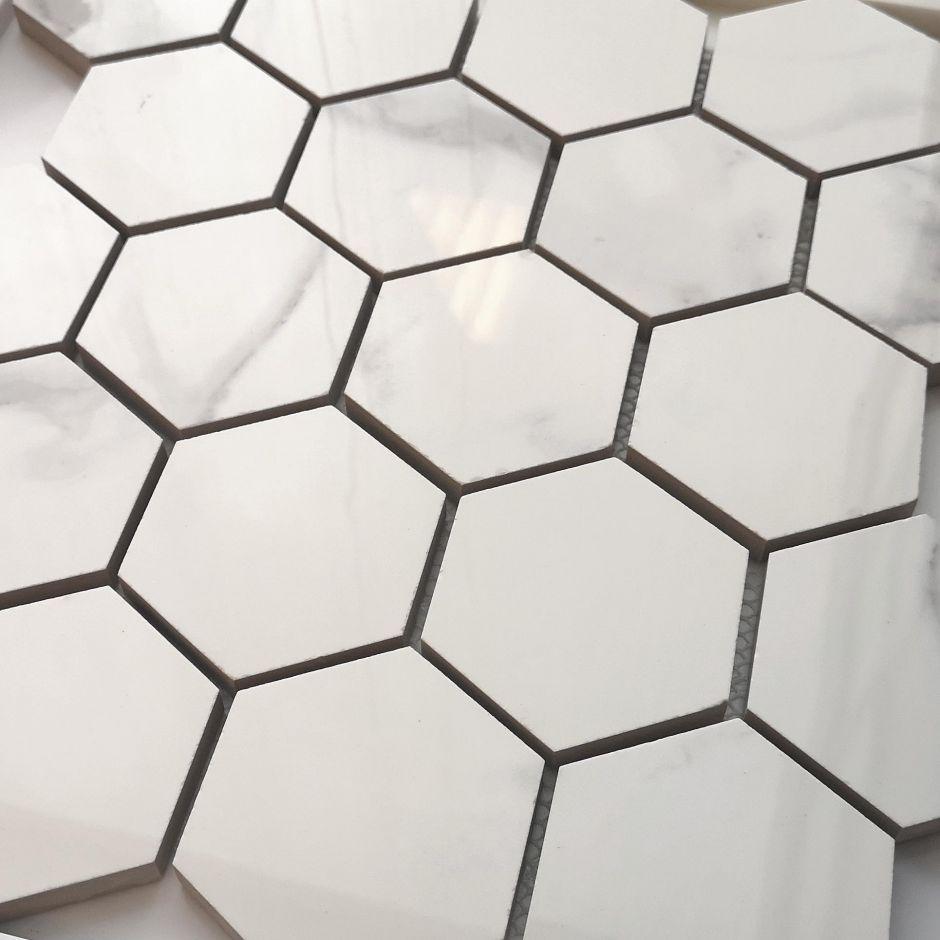 Мозаика LeeDo: Calacatta POL 37x64 мм гексагон, полированный керамогранит