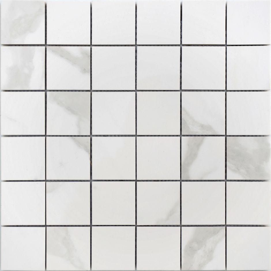 Мозаика LeeDo: Calacatta POL 48x48х10 мм, полированный керамогранит