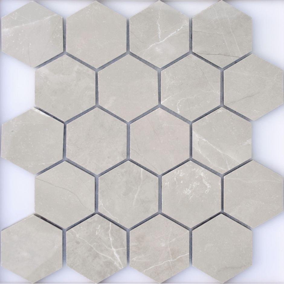 Мозаика LeeDo: Nuvola grigio POL 37x64 мм гексагон, полированный керамогранит