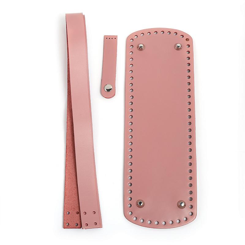 Набор кожаной фурнитуры для сумки ШОПЕР: дно, ручка, клапан. натуральная кожа (БРН)