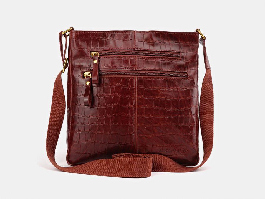"""Кожаная мужская сумка через плечо Alexander-TS """"P0005 Cognac Croco"""""""