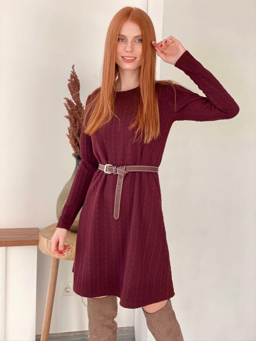 s3015 Платье трикотажное с косами брусничное