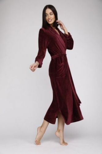 Женский велюровый халат Passion сливовый