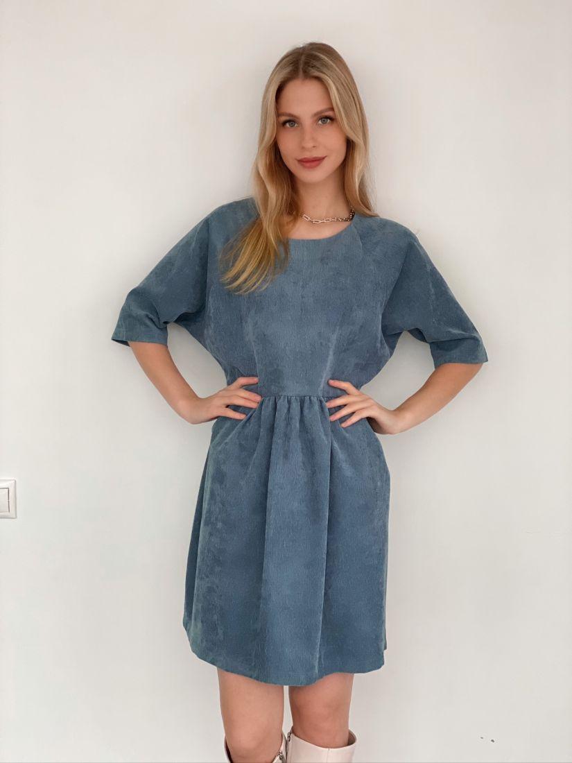 s3021 Платье вельветовое серо-голубое