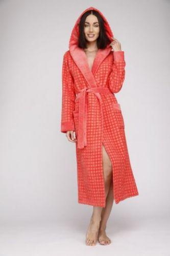 Женский махровый халат с капюшоном Ultra Doux коралловый