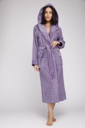 Женский махровый халат с капюшоном Ultra Doux сиреневый