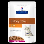 Hill's PD Feline k/d Renal Health with Beef Диетические паучи при почечной недостаточности (говядина) (85 г)