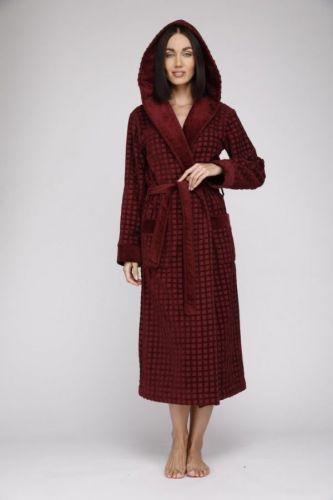 Женский махровый халат с капюшоном Ultra Doux сливовый