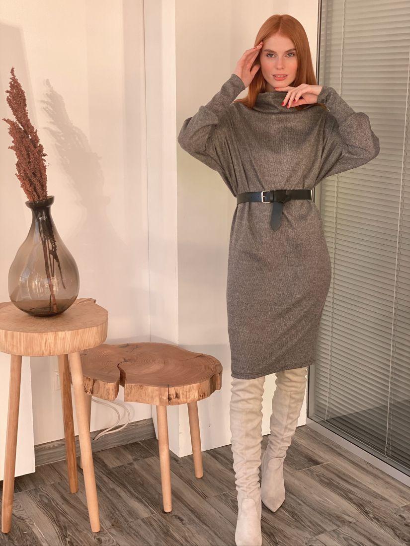 """s3034 Платье-свитер """"оверсайз"""" серое в тонкую полоску"""