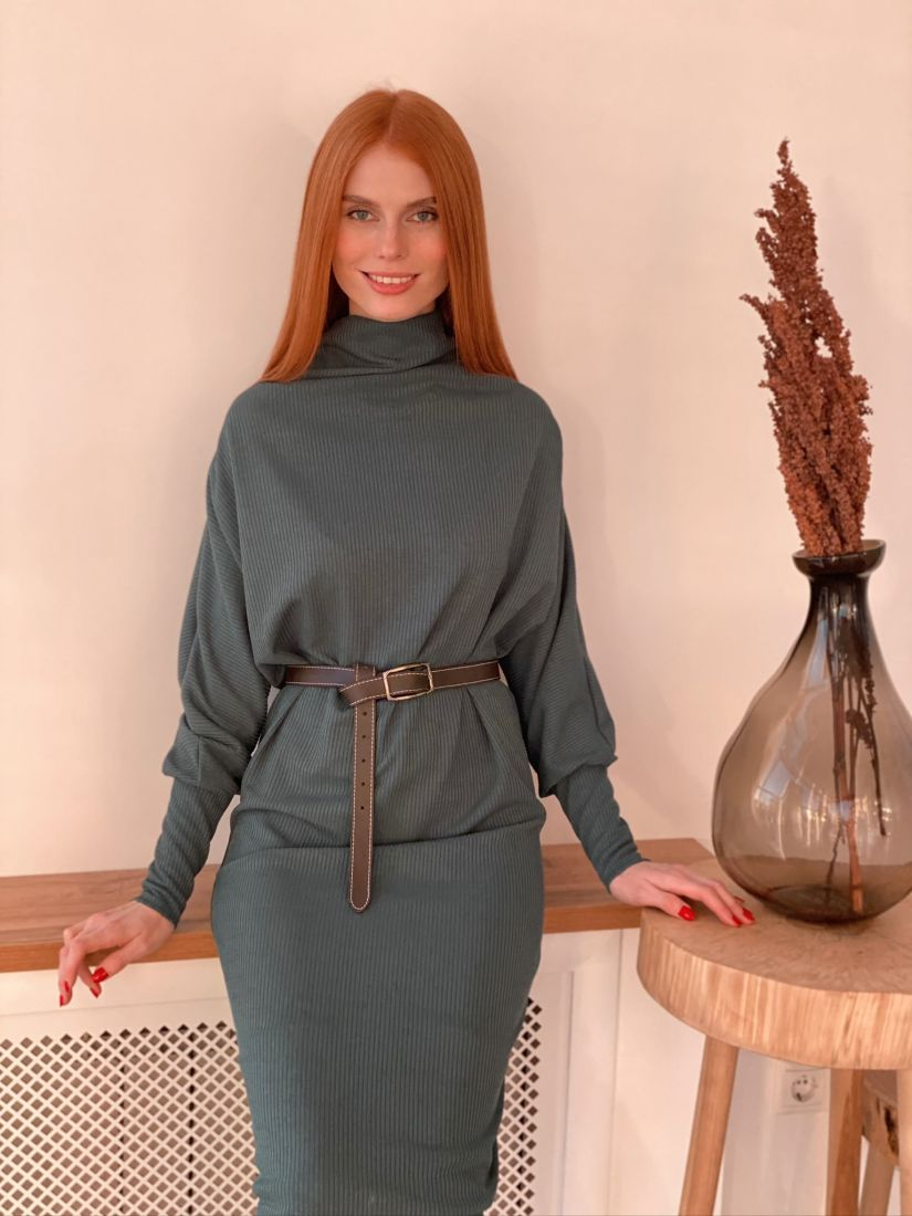 s3037 Платье-свитер оверсайз в цвете emerald