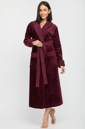 Женский махровый халат Ultra Doux сливовый