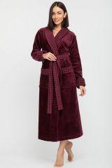 Женский махровый халат с шалькой Ultra Doux сливовый