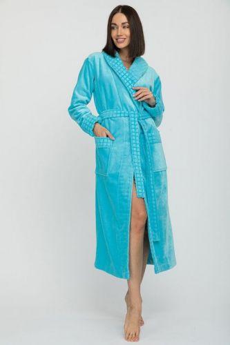Женский махровый халат с шалькой Ultra Doux бирюзовый
