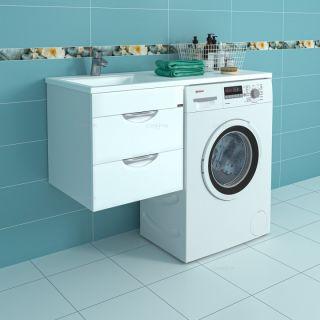 Раковина над стиральной машиной Лидер 1100 с подвесной тумбой Лидер 48