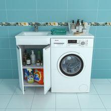 Раковина над стиральной машиной Лидер 1100 с напольной тумбой Лидер 48