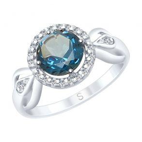 Кольцо из серебра с синим топазом и фианитами 92011674 SOKOLOV