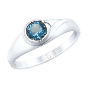 Кольцо из серебра с синим топазом 92011662 SOKOLOV
