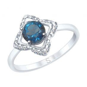 Кольцо из серебра с синим топазом и фианитами 92011728 SOKOLOV