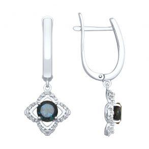 Серьги из серебра с синими топазами и фианитами 92021942 SOKOLOV