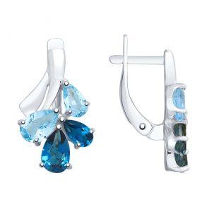 Серьги из серебра с голубыми и синими топазами 92022081 SOKOLOV