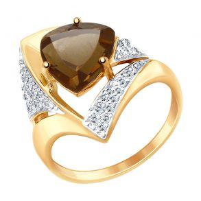 Кольцо из золота с раухтопазом и фианитами 714948 SOKOLOV
