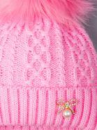РБ 00-0021674 Шапка вязаная для девочки с помпоном на завязках, на отвороте бантик с жемчужиной, розовый