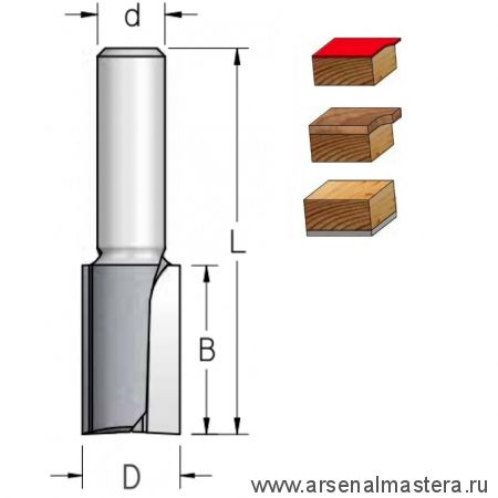 Фреза обгонная нижний подшипник D 12,7 B 32 Z 2 хвостовик 6 мм WPW F251273