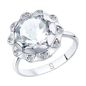Кольцо из серебра с горным хрусталем и фианитами 92011849 SOKOLOV