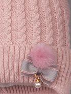РБ 00-0022712 Шапка вязаная с ушками для девочки на завязках, пушок, бантик с бусинкой, тускло-розовый