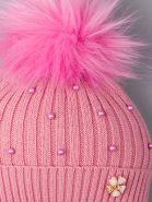 РБ 00-0021835 Шапка вязаная для девочки с помпоном на завязки, лапша, жемчуг, цветочек, лавандовый