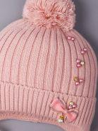 РБ 00-0021601 Шапка вязаная для девочки с бубоном на завязках, лапша, жемчуг, бантик, тускло-розовый