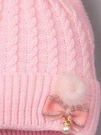 РБ 00-0022702 Шапка вязаная с ушками для девочки на завязках, пушок, бантик с бусинкой, светло-розовый