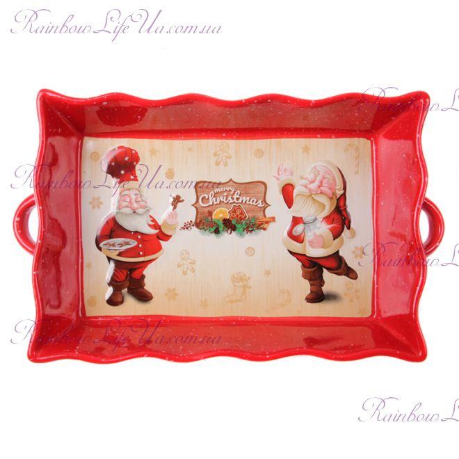 """Блюдо для запекания новогоднее """"Санта"""""""