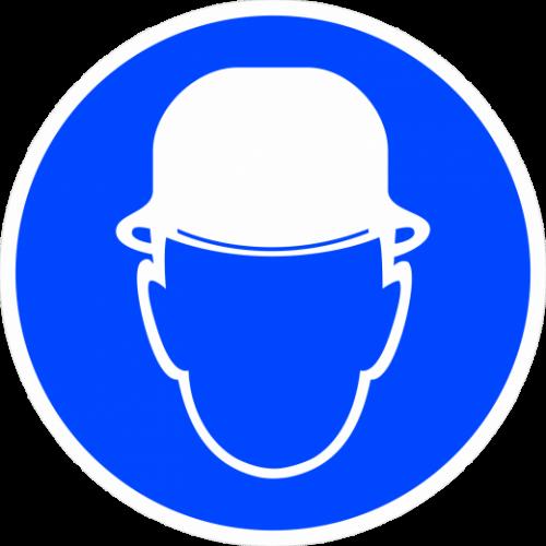 """Наклейка М02 """"Работать в защитной каске (шлеме)"""", ГОСТ, Айдентика Технолоджи"""