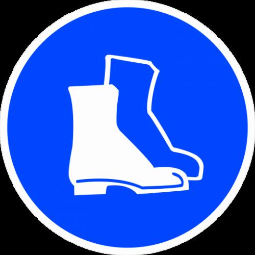 """Наклейка М05 """"Работать в защитной обуви"""", ГОСТ, Айдентика Технолоджи"""