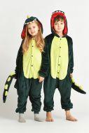 """Кигуруми для детей 6-9 лет """"Динозаврик"""" темно-зеленый"""